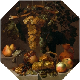 Bodegón ochavado con racimos de uvas