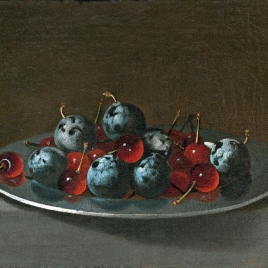 Plate with Plums and Morello Cherries