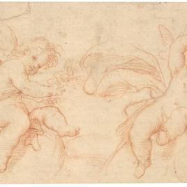 Dos estudios de angelitos sentados sobre volutas