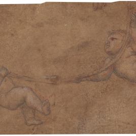 Dos amorcillos llevando un aro