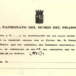 Invitación del Patronato del Museo del Prado a la inauguración de las salas donde se ha instalado la Colección del Legado de Pedro Fernández Durán el 18 de junio de 1931