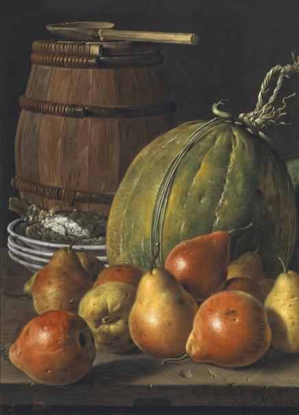 Bodegón con peras, melones, platos y barril
