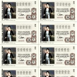 Capilla de billete de Lotería Nacional para el sorteo de 18 de octubre de 1972