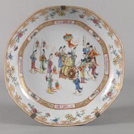 Fuente circular de porcelana china. Compañía de las Indias.