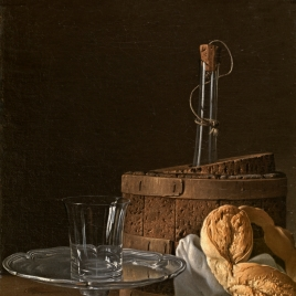 Bodegón con caja de jalea, rosca de pan, salva con vaso y enfriador