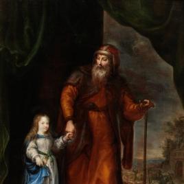 San Joaquín conduciendo a la Virgen niña de la mano