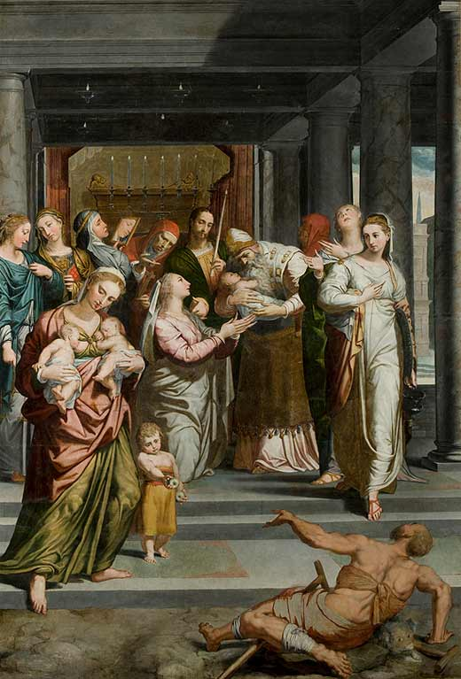 <p><em>The Purification of the Virgin in the Temple</em> by Pedro de Campaña, after restoration</p>