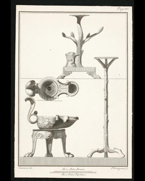 Antigüedades de Herculano: pedestales en forma de árbol y trípode con patas de león