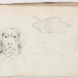 Apunte de un perro y estudio de figuras