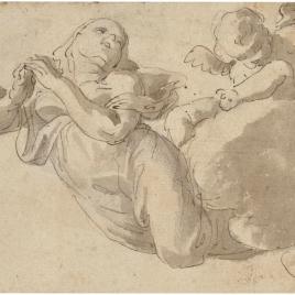 Figura femenina y un angelito sobre nubes.