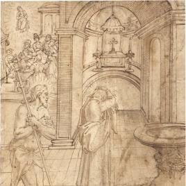 Aparición de un santo peregrino [Santiago(¿?)] a una monja