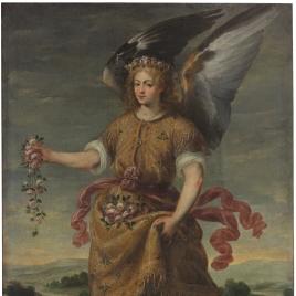 El Arcángel Baraquiel esparciendo flores