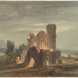 Paisaje nocturno con monasterio en ruinas