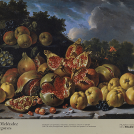 Luis Meléndez [Material gráfico] : bodegones. Bodegón con granadas, manzanas, acerolas y uvas en un paisaje = Still life with pomegranates, apples, rose hips and grapes in a landscape] / Museo Nacional del Prado.