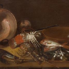 Bodegón de mariscos, peces y recipientes