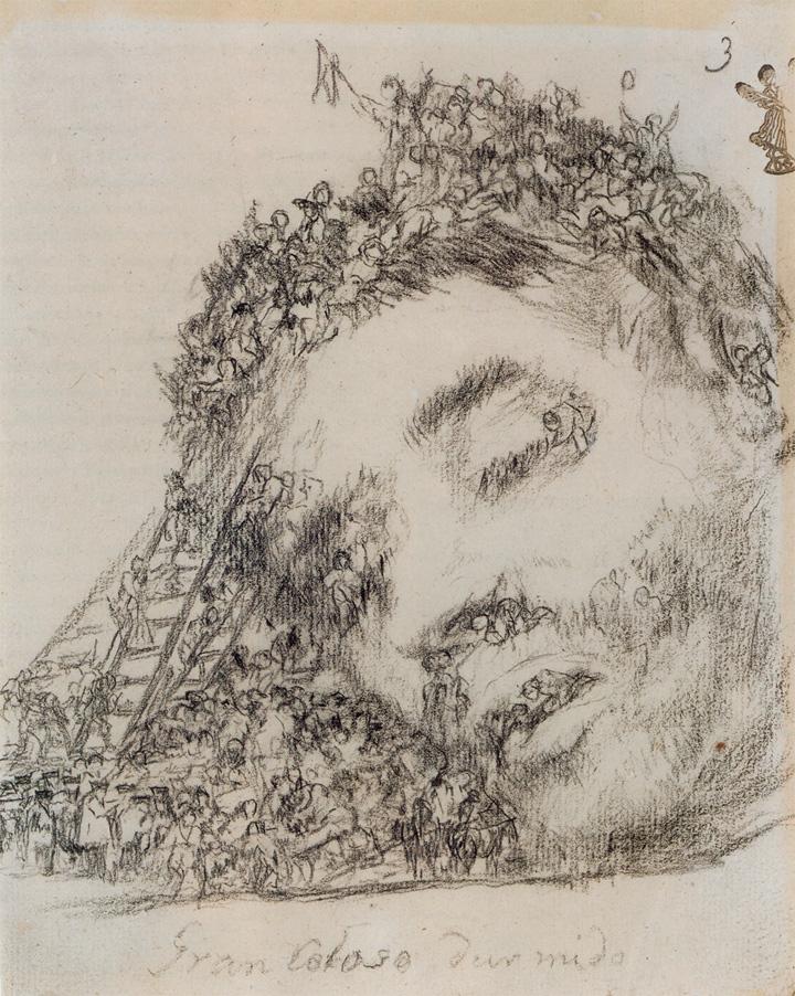 <dl><dt><em>Gran coloso dormido</em></dt><dd>Francisco de Goya</dd><dd>Lápiz litográfico, Álbum G3, 1824-28</dd><dd>Ant. col. Gerstenberg, Berlín. Museo del Hermitage, San Petersburgo</dd></dl>