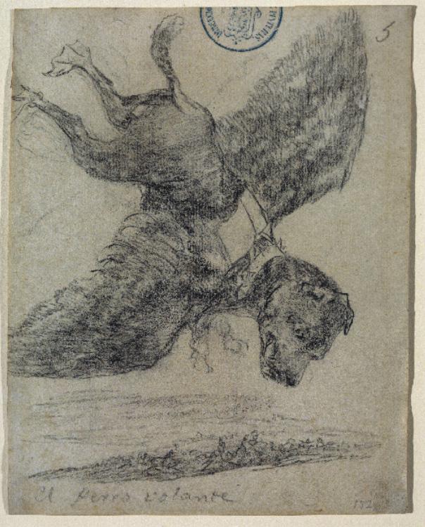 <dl><dt><em>El perro volante</em></dt><dd>Francisco de Goya</dd><dd>Dibujo a lápiz negro, 1824-1828</dd><dd>Madrid, Museo del Prado</dd></dl>