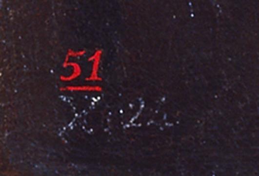 """<p>Francisco de Goya,<em>Maja y Celestina al balcón</em>, (detalle de """"X.24"""" del inventario de 1812 versión de 1814 de los bienes de Goya; el """"51"""" en rojo, posible número del inventario de la colección Acebal y Arratia, antes de 1840) hacia 1810-1812, Madrid, colección particular</p>"""