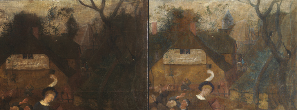 <p><strong>Left:</strong> Detail of the upper right corner prior to restoration.</p><p><strong>Right: </strong>The same scene. After cleaning it has recovered a sense of light and depth.</p>