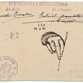 Mano derecha sosteniendo una aguja de ganchillo / Figura femenina sentada en vuelo