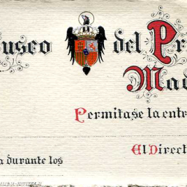 Tarjetas de visita gratuita al Museo del Prado expedidas por la Dirección.