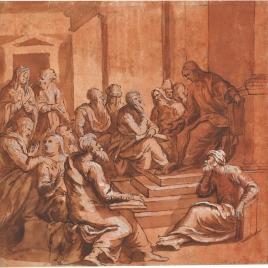 Cristo discutiendo con los doctores / Decapitación de un obispo santo; Flagelación; Obispo predicando en un interior, y Ecce Homo