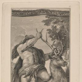 Hércules alcanza al ciervo de los pies de bronce y astas de oro