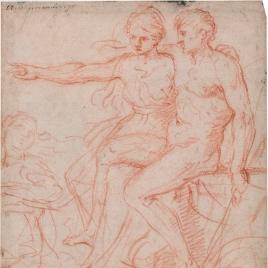 Escena mitológica con un hombre y una mujer sentados / Apuntes para figura femenina
