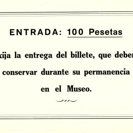 Cartel informativo con la tarifa del museo [1980-1981]