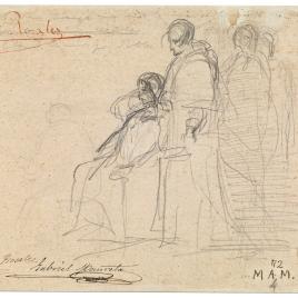 Un personaje sentado y varios en pie