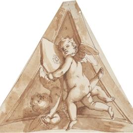 Estudio de pechina con dos angelitos