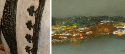 <p><em>Fig.6</em>: next to the detail of the decoration of the cloak, the image obtained with the optical microscope of a polychromatic sample. We may see the inferior layer of glitter followed by a greenish patina.</p>