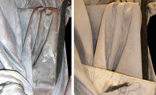 <p><em>Fig.11</em>: detail of the cloak of Nero before and after restauration</p>