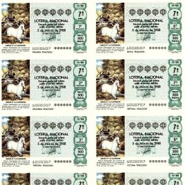 Capilla de billete de Lotería Nacional para el sorteo de 5 de marzo de 1988