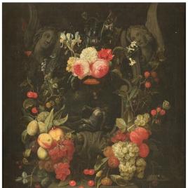Guirnalda de flores y frutas con la Piedad