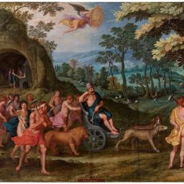 Alegoría del mes de Septiembre con el triunfo de Vulcano y el signo de Libra