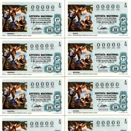 Capilla de billete de Lotería Nacional para el sorteo de 9 de marzo de 1972