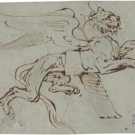 Dibujo para un ornamento con la forma de una leona alada