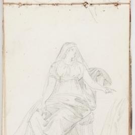 Estudio de paños, figura femenina sentada
