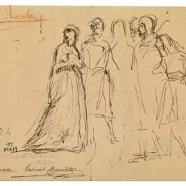 Doña Blanca de Navarra / Dos jóvenes ante un personaje sentado