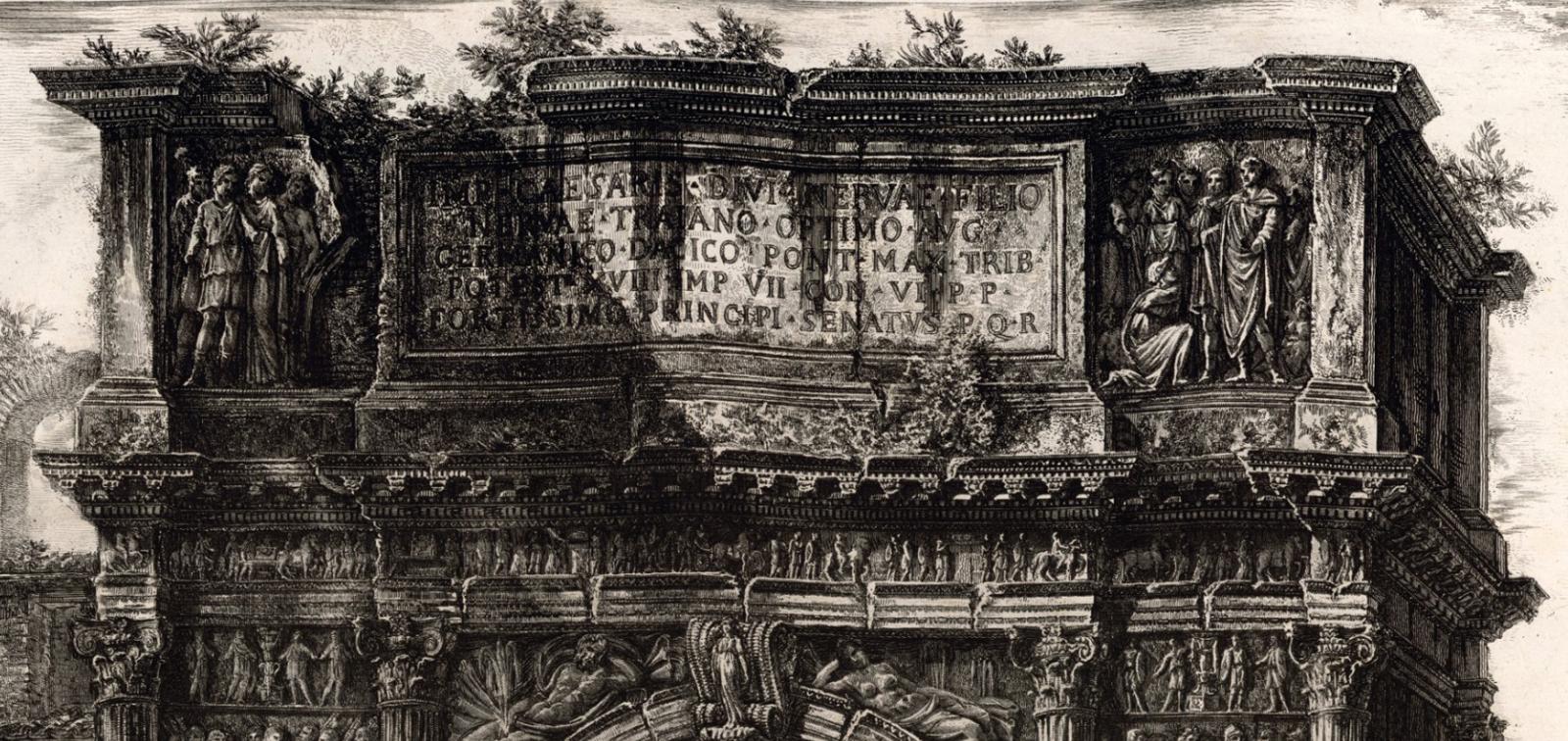 Antonio Joli, Visita de la reina María Amalia de Sajonia al Arco de Trajano en Benevento