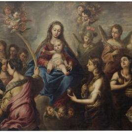 La Virgen con santos y ángeles