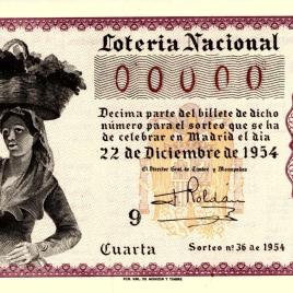 Capilla de décimo de Lotería Nacional para el sorteo de 22 de diciembre de 1954
