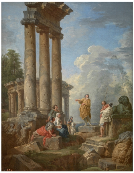 Ruinas con San Pablo predicando