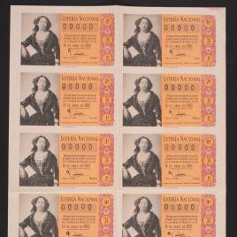 Capilla de billete de Lotería Nacional para el sorteo de 14 de abril de 1960