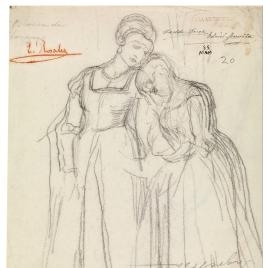 Doña Blanca de Navarra despidiéndose de una dama de su corte / Figura femenina de espaldas