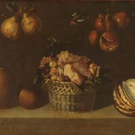 Bodegón con cesta de uvas y otras frutas