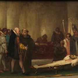 Escena histórica de velatorio