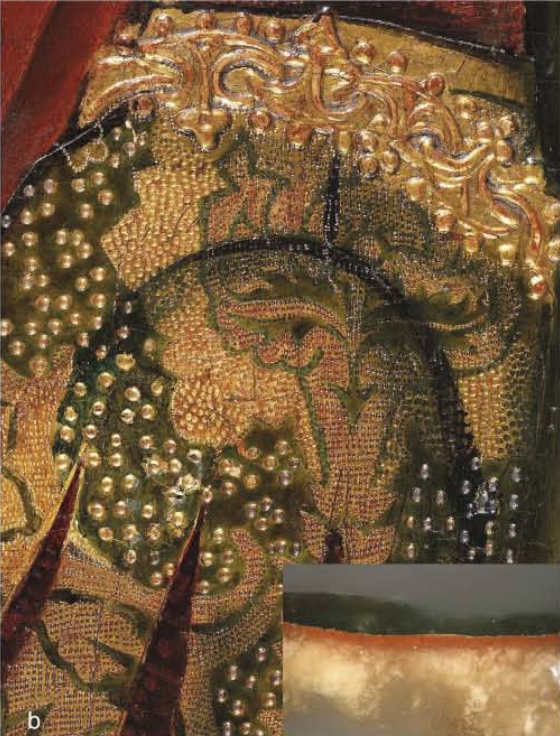 <p><strong>Figure 6. (b)</strong>Martín Bernat,<em>Ferdinand I of Castile welcoming Saint Dominic</em>: detail of the gilding with an inset showing a cross-section.</p>