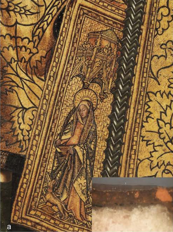 <p><strong>Figure 6. (a)</strong>Bartolomé Bermejo,<em>Saint Dominic of Silos enthroned as a Bishop</em>: detail of the gilding with an inset showing a cross-section.</p>